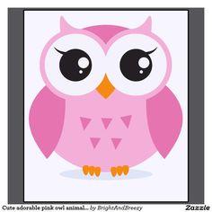Dibujo animado animal del búho rosado adorable lin remeras | Zazzle