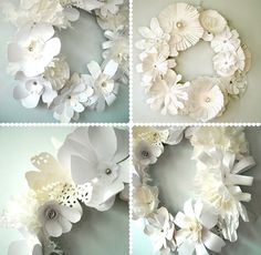 4 Different DIY::  Blooming flower paper wreaths !  Could use one color or Multiple  to Create These Lovely  Wreaths!
