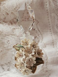Vintage Daisy Jewelry Embellished Perfume Bottle #2 by glassbeadtreasures, via Flickr
