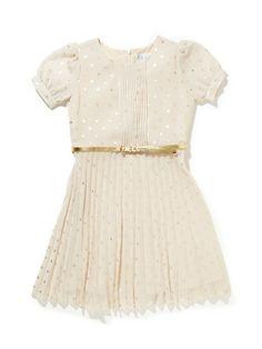 Pleated Chiffon Polka Dot Dress by Blush by US Angels at Gilt