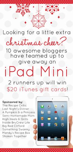 YOU GUYS!!  HURRY and enter to win a new iPad mini!!  And 2 runner ups will win a $20 iTunes giftcard!!! at https://therecipecritic.com