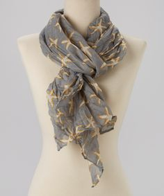 Gray Crinkle Starfish Scarf