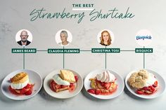 We Tried 4 Popular Strawberry Shortcake Recipes -Here's The Best   Kitchn Just Desserts, Delicious Desserts, Dessert Recipes, Bisquick Strawberry Shortcake, Drop Biscuits, How To Cook Steak, Food Reviews, Banana Bread Recipes, Strawberries And Cream