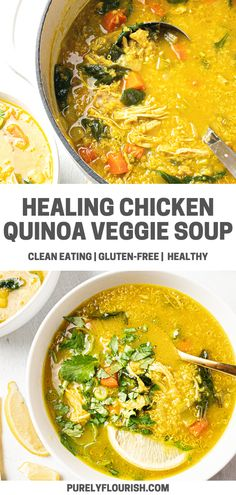 With ingredients like chicken bone broth, ginger, and turmeric -- this Chicken Quinoa Vegetable soup is a healthy immune-boosting, gut-healing, and anti-inflammatory comfort food. Easy Chicken Dinner Recipes, Healthy Pasta Recipes, Healthy Pastas, Lunch Recipes, Health Recipes, Turkey Recipes, Quinoa Vegetable Soup, Vegetable Soup Recipes, Chicken Quinoa Soup