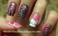 Nail art I did for a contest with a handpainted #HelloKitty !
