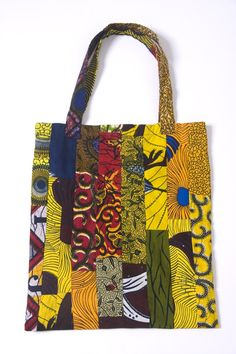 Patchwork print tote bag. Handcrafted using local African cotton fabrics
