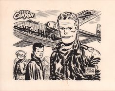Promotional artwork for the Steve Canyon comic strip, featuring Happy Easter, Reed Kimberly and Steve Canyon.