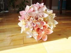 Origami Kusudama Paper Flower Bouquet - Bridal, Home, Wedding, Baby, Nursery $75.00
