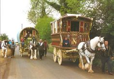 The Finney Family, an Irish Gypsy family, on their way to the Appleby Fair.