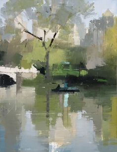 Lisa Breslow Boaters 3, 2018 oil and pencil on panel 16 x 12 in. #OilPaintingLandscape