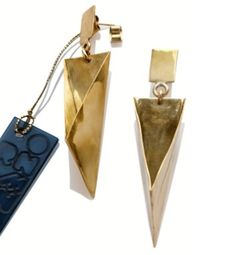 ORNAMENTA handmade ORGC1 Origami earrings in natural polished brass