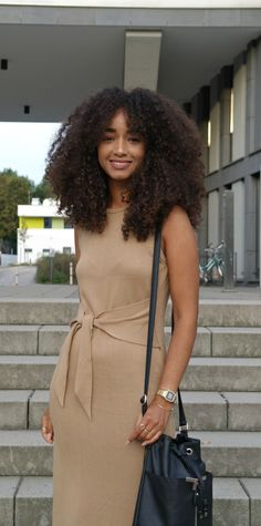 knit dress, bucket bag, casio watch, curly hair