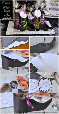 Witch Shoes with Oreo Stockings -  Tutrorial with Shoe Template and Free Printable Tag