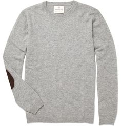 grey crew neck sweater with elbow patches