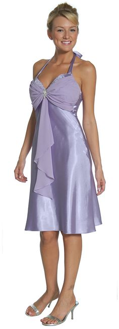 Lilac Dress Good For Wedding Halter Knee Length Short Lilac Dress $79.99