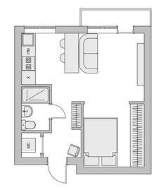 45 New Ideas For Apartment Floor Plan Micro Small Apartment Design, Small Space Design, Apartment Layout, Apartment Plans, Small House Design, Small Space Living, Small Apartments, Cozy Apartment, Cabin Floor Plans