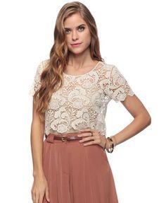 lace + high-waist skirt