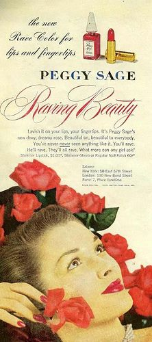 A romantically rose filled ad from 1947 for Peggy Sage's Raving Beauty lipstick and nail polish.