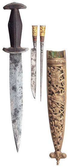 A rare Swiss dagger of so-called Holbein type, mid-16th century, the scabbard later.