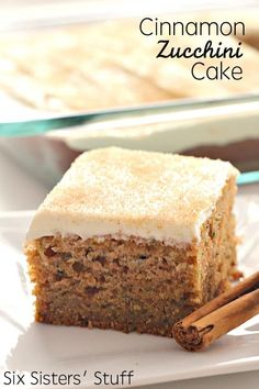 Cinnamon Zucchini Cake with Cream Cheese Frosting - Six Sisters' Stuff | A delicious spiced zucchini cake topped with thick cream cheese frosting. Perfect for a fall dessert! #sixsistersstuff #cake #cakerecipe #dessert #recipe