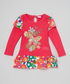 Look at this #zulilyfind! Fuchsia Tiered Butterfly Tee - Infant, Toddler & Girls #zulilyfinds