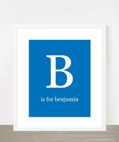 Royal blue baby boy nursery print - Letter B for Benjamin. $16.00, via Etsy.