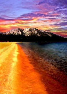 Wow, what a stunning composition and palette, Bob!  I love the fiery warmth of the orange-red in the water reflecting the sun along with the cool tones of blue and purple in the sky above!  The mountain almost seemingly rising out of this amazing water looks so real, too!  Love it!  Fave!