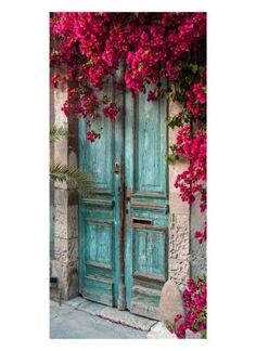 Tür mit Bougainvilleas Motivdruck