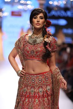 """The Stars and Showstoppers at {Lakme Fashion Week 2015}"" Lakme Fashion Week Spring/Summer '15 Nargis Fakhri for Suneet Varma Posted by Shriya © Blue Mango Weddings (quote) via thebigfatindianwedding.com"