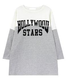 Letters Print Contrast Color Long Sweatshirt