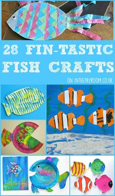 28 fin-tastic fish crafts for kids crafts океан и живопись Sea Crafts, Fish Crafts, Water Crafts, Ocean Activities, Craft Activities For Kids, Crafts For Kids To Make, Art For Kids, Nemo Crafts For Kids, Kid Art