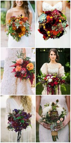 gorgeous wedding bouqutes for fall wedding