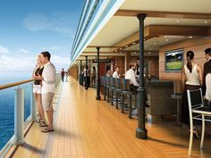 The Waterfront Boardwalk on the Norwegian Breakaway.  Images/Artist renderings are for presentation. Actual details vary.