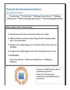 Parent Involvement Letters- perfect for Title I teachers!  One for each of six reading strategies