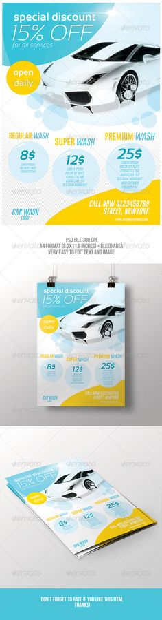Car Wash 3-Fold Brochure 02 Car wash, Brochure template and - auto detailing flyer template