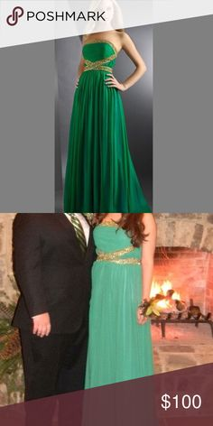 Green Chiffon Long Dress with Gold Beading Long elegant Kelly green chiffon dress with gold beading on the bodice. Originally a size 12 but altered to a size 8. Perfect for prom season Dresses Prom