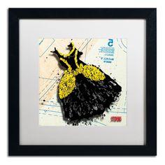 'Black n Yellow Swirls' by Roderick Stevens Framed Graphic Art