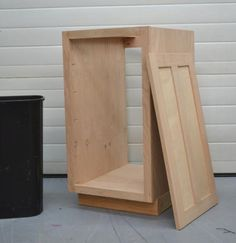 "I want to make this!  DIY Furniture Plan from Ana-White.com  How to build kitchen cabinets! This plan is for an 18"" wide full overlay face frame pull out trash bin. It can also be used as a cupboard with door for storage - just add shelves. Free easy step by step plans."