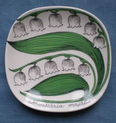 """""""Lily of the Valley"""". Design by Esteri Tomula. Nordic Thoughts: Kielo (Lily of the Valley) - the national flower of Finland Old Pottery, Pottery Plates, Clay Design, Design Art, Coffee Cup Design, Outline Drawings, The Beautiful Country, Street Art Graffiti, Lily Of The Valley"""