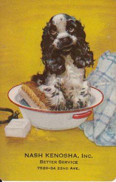 *Vintage Swap/Playing Card - 1 SINGLE-  BUTCH DOG ADVERT - NASH KENOSHA