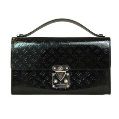 LOUIS VUITTON Black Mini Monogram Glace Anouchka MM Clutch Bag 53b6ca29d0099