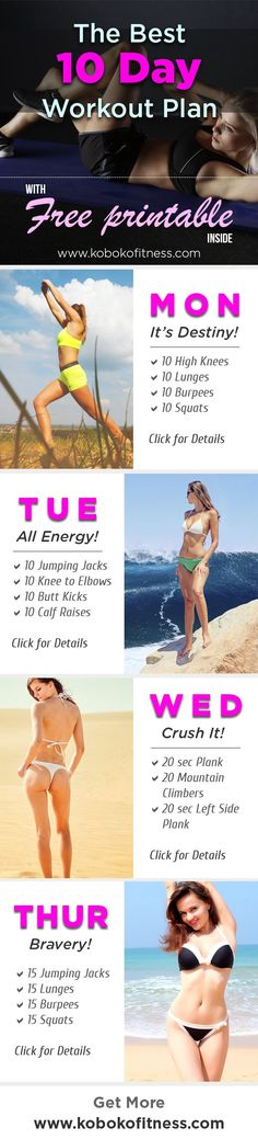 10 day workout plan / workout challenge for women! perfect for a weight loss routine or getting back into shape!