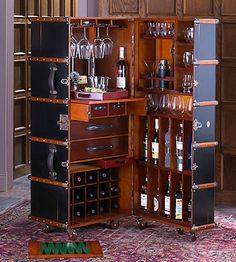 Stateroom Bar in Ivory or Black - Steamer Trunk Bar Cabinet