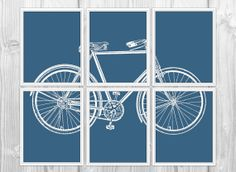 Retro Bicycle Set of 6 Art Prints - Navy Blue and White Modern Bike Decor - Bicycle Silhouette Home Decor