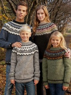 "Free knitting pattern for Amaelfi Icelandic Sweater for the Family - Védís Jónsdóttir designed this gorgeous sweater in honor of the 20th Anniversary (""amaelfi"") of Istex yarn. Five color combination options. Sizes: Child 8, 10 & 12 yrs, and Adult S, M, L, XL"