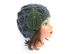 Green Gray Cloche - 1920s Cloche Hat - Flapper Hat - Lace Knit Beanie With Leaf - Women's Cloche - Knit Accessories by BettyMarieJones on Etsy