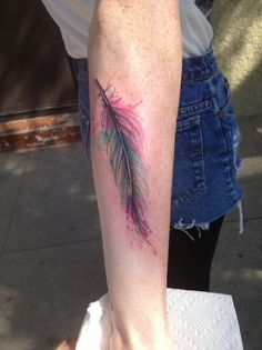 watercolor tattoos | Watercolor feather tattoo