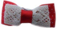 Barrette pour chien, rouge, avec pois, tissu et crochet, à pince