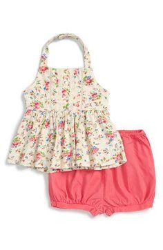 Ralph Lauren Floral Print Halter Top & Bubble Shorts Set (Baby Girls)