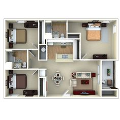 3bedroom 3D floor plan, Glenbrook Apartments in Sarasota, FL | por PCMG Apartments